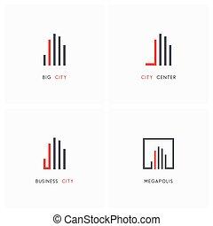 geschaeftswelt, stadt, -, real estate, logo, satz