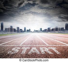 geschaeftswelt, start, -, rennfährte