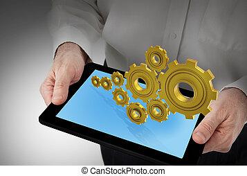 geschaeftswelt, tablette, modern, telephonieren polster, pc, berühren, klug, mann