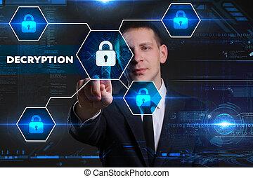 geschaeftswelt, technologie, internet, und, vernetzung, concept., junger, geschäftsmann, arbeiten, a, virtuell, tafel, von, zukunft, er, sieht, der, inscription:, decryption