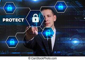 geschaeftswelt, technologie, internet, und, vernetzung, concept., junger, geschäftsmann, arbeiten, a, virtuell, tafel, von, zukunft, er, sieht, der, inscription:, schützen