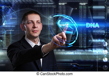 geschaeftswelt, technologie, internet, und, vernetzung, concept., junger, geschäftsmann, arbeiten, a, virtuell, tafel, von, zukunft, er, sieht, der, inscription:, dns