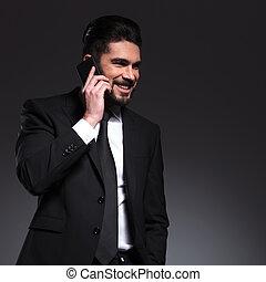 geschaeftswelt, telefonierende , lächeln glücklich, mann