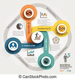 geschaeftswelt, timeline, infographic, template., vektor, illustration., buechse, sein, gebraucht, für, workflow, plan, banner, diagramm, zahl, optionen, web, design.