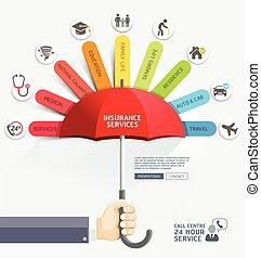 geschaeftswelt, umbrella., besitz, rotes , hände