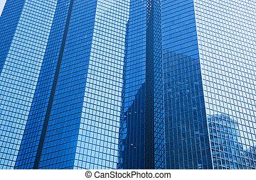 geschaeftswelt, wolkenkratzer, moderne architektur, in, blaues, tint.