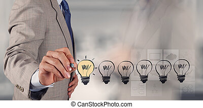 geschaeftswelt, zeichnung, conce, strategie, kreativ, zwiebel, licht, hand