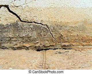 gescheiden, muur, gebarsten, betonnen vloeren