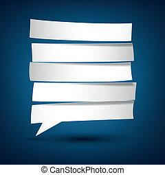 gescheiden, papier, bubble., toespraak, witte