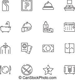 gescheiden, wifi, restaurant, tv, hotel, bed, vector, icons., tekens & borden, kosteloos, lijn, parkeren, verwant, mager