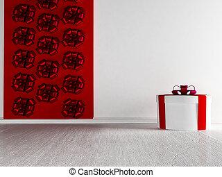 geschenk, auf, der, weißes, boden