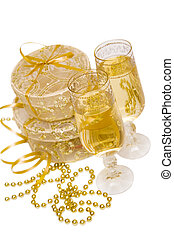 geschenk boxt, mit, champagner