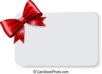geschenk buiging, label, rood, leeg, lint