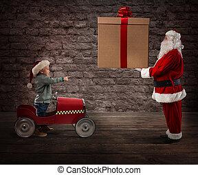 geschenk, claus, liefern, santa, kind, weihnachten