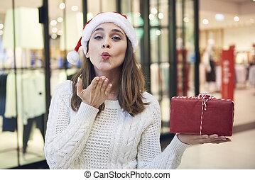 geschenk, durchbrennenkuß, weihnachten, frau