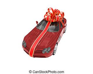 geschenk, freigestellt, rotes auto, vorderansicht
