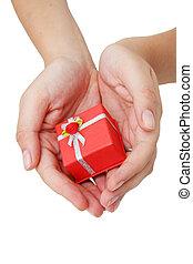 geschenk, hände