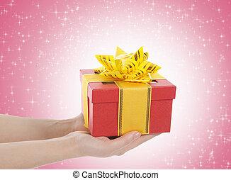 geschenk, in, der, hände, von, frauen