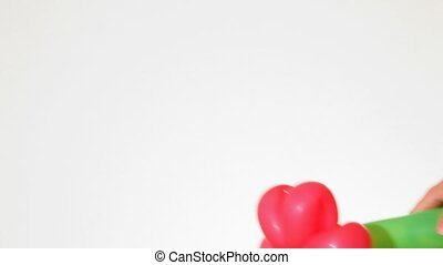 geschenk, luftballonblüte, weißer hintergrund