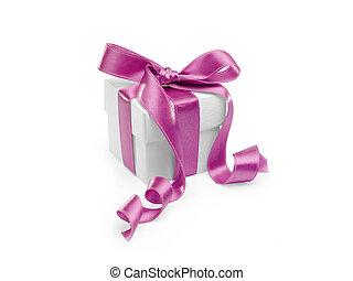 geschenk, mit, rosafarbenes band