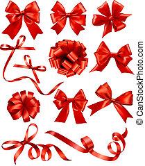 geschenk, vektor, verbeugungen, groß, satz, rotes , ribbons...