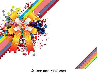 geschenkband, dekoration, mit, grunge, design