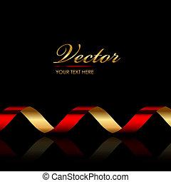 geschenkband, hintergrund, rotes , gold, &