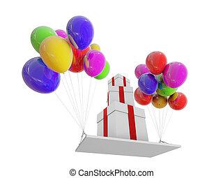geschenke, auf, farbe, balloons.