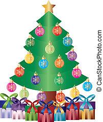 geschenke, baum, verzierungen, abbildung, weihnachten
