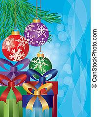 geschenke, baum, weihnachten, abbildung, unter