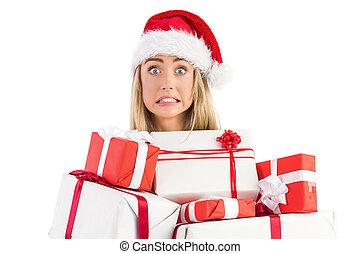 geschenke, blond, haufen , besitz, festlicher