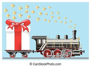 geschenke, dampflokomotive