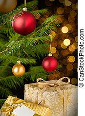 geschenke, dekoration, baubles, weihnachtsbaum