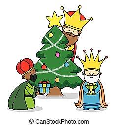 geschenke, drei, abgang, könige