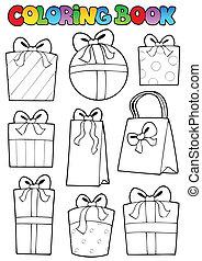 geschenke, färbung, verschieden, buch