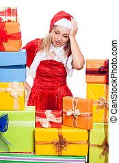 geschenke, frau, weihnachten, genervt