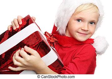 geschenke, freude, weihnachten, kind