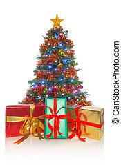 geschenke, front, baum, freigestellt, weihnachten