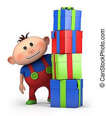 Geschenke, Junge, hinten, haufen
