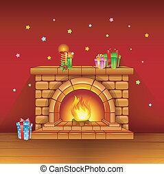 geschenke, kerzen, kaminofen, roter hintergrund