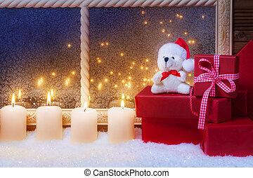 geschenke, kerzen, teddy