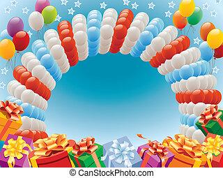 geschenke, luftballone