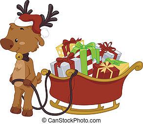 geschenke, rentier, voll, ziehen, clipart kinderschlitten