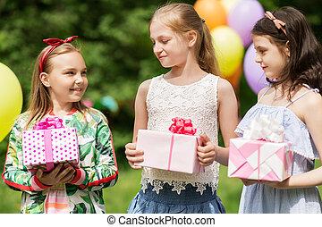 geschenke, sommer, geburtstagmädchen, party