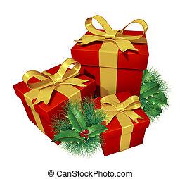 geschenke, stechpalme, weihnachten, kiefer