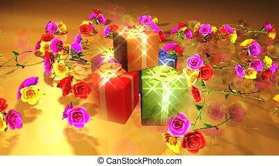 geschenke, und, blumen