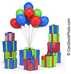 geschenke, und, luftballone