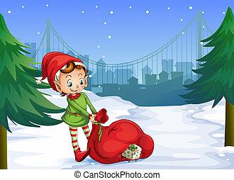 geschenke, voll, weihnachtshelfer, rotes , sack