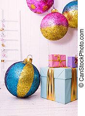 Geschenke, weißes, baum, Weihnachten, hintergrund