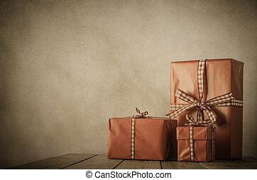 geschenke, weinlese, -, weihnachtlicher tisch